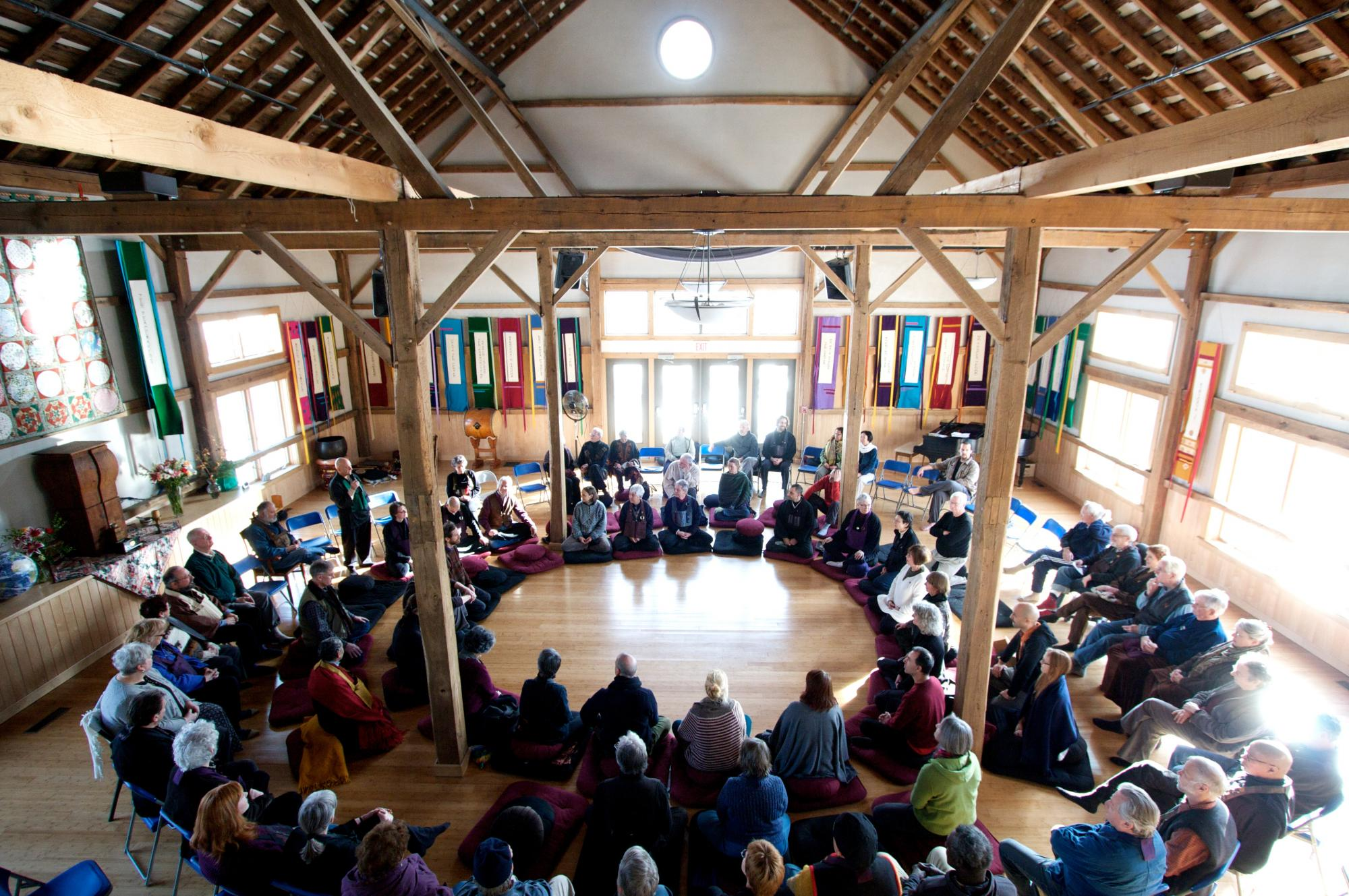 The Zen Peacemakers Annual Meeting in The HOOP (The House of One People) as they called the barn/conference center. We will keep that name, it is nice.