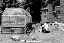 Farmhosue with portable greenhouse.
