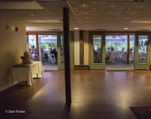 French doors line the Main Dining Hall, providing easy access to the courtyard.