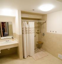 One of two full bathrooms in the guestroom area behind the bridal suite